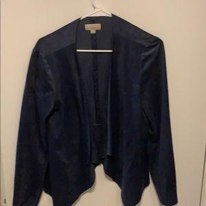 Loft faux suede blue open jacket Size 8